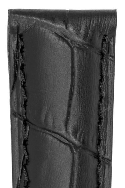 IWC-Style Alligator Embossed Leather Watch Strap in BLACK