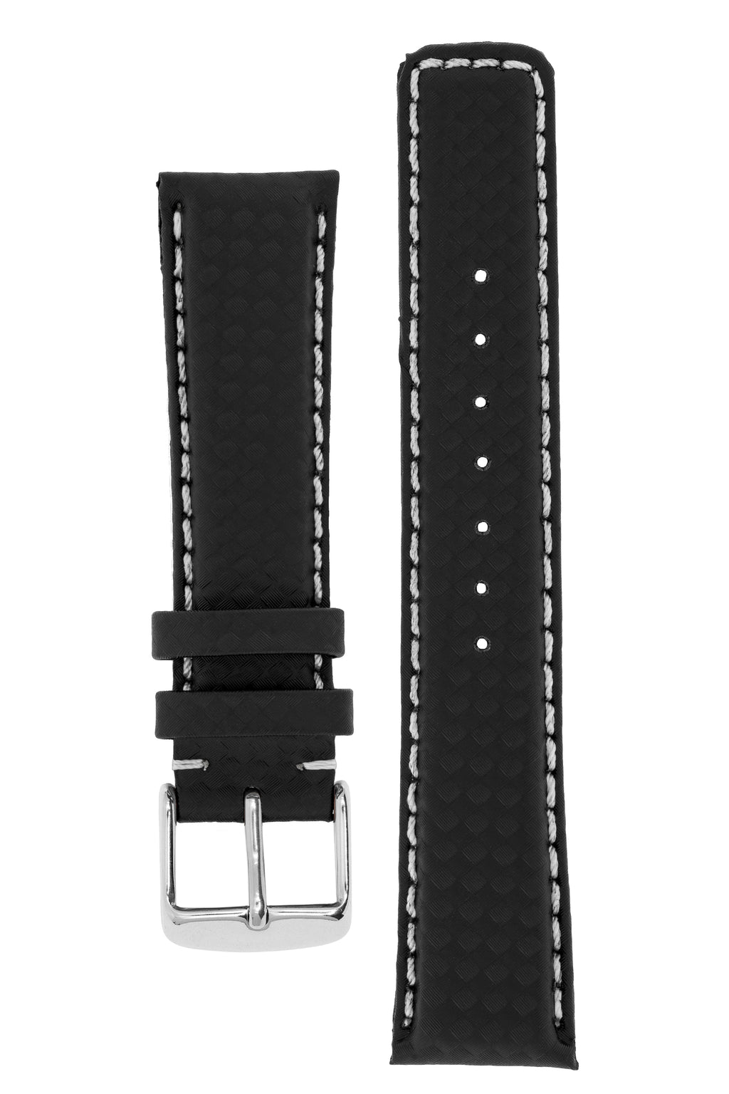 IWC Style Carbon Embossed Watch Strap in BLACK