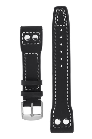 IWC Aviation Style Calf Leather Watch Strap in BLACK