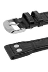 IWC Aviation Style Alligator Embossed Leather Watch Strap in BLACK