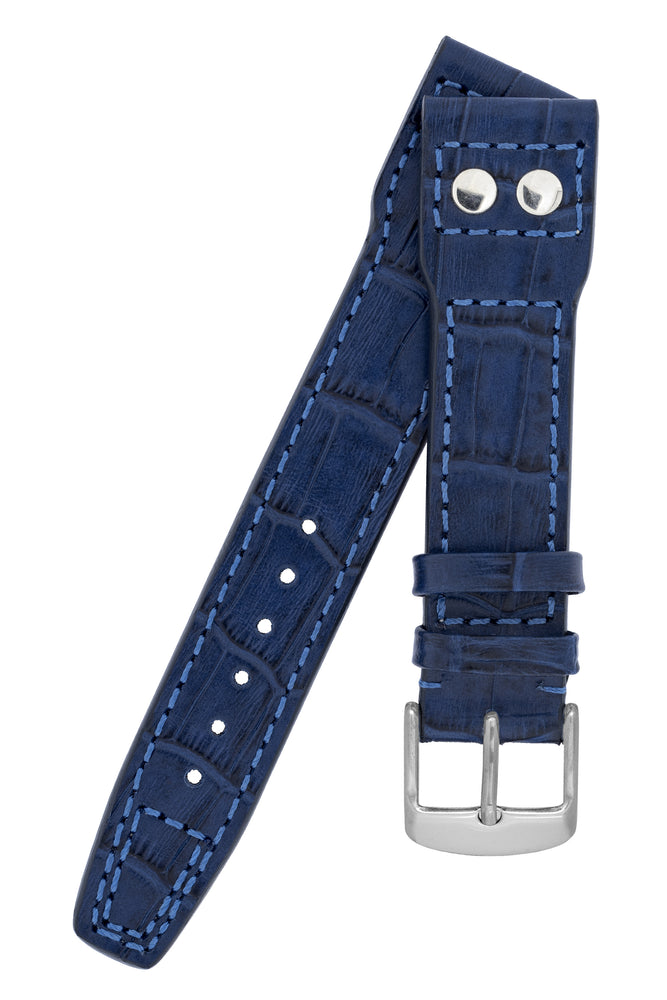 IWC-Style Aviation Alligator-Embossed Leather Watch Strap in BLUE
