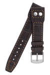 IWC Aviation Style Alligator Embossed Leather Watch Strap in DARK BROWN