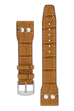 IWC Aviation Style Alligator Embossed Leather Watch Strap in GOLD BROWN