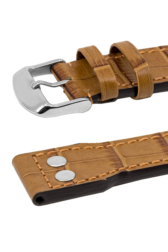 IWC-Style Aviation Alligator-Embossed Watch Strap in GOLD BROWN