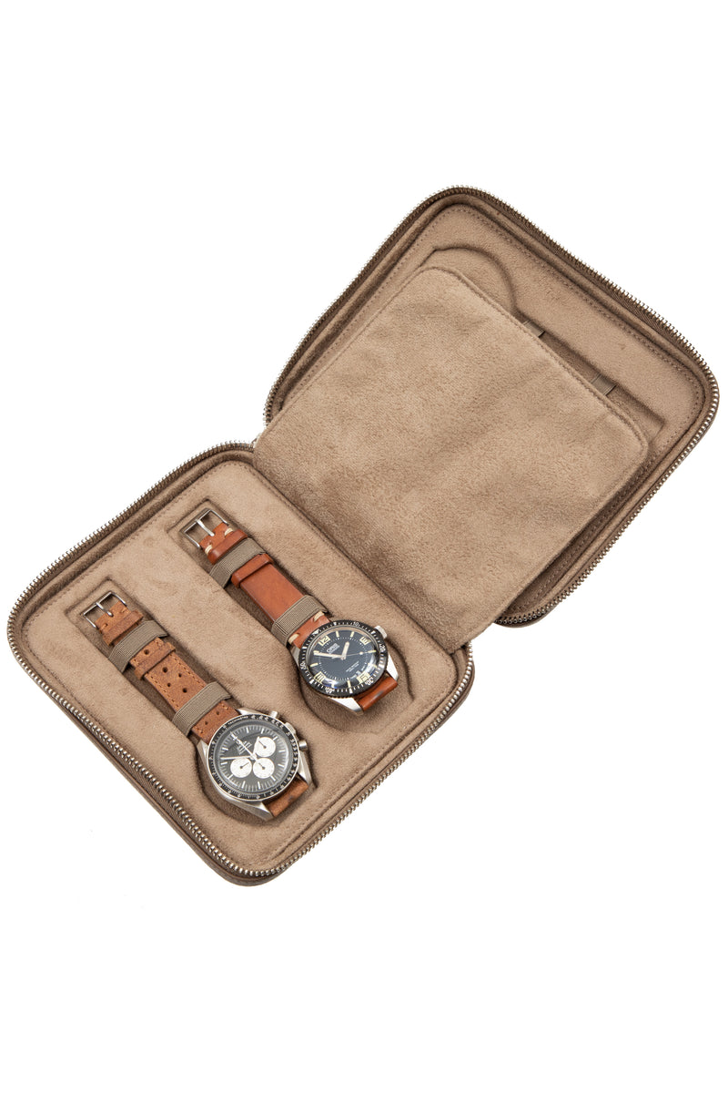 JPM 4-Watch Leather Travel Storage Case in TAUPE