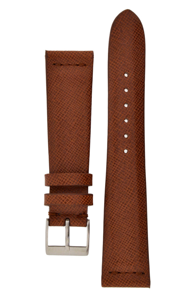JPM Italian Classic Print Leather Watch Strap in BROWN