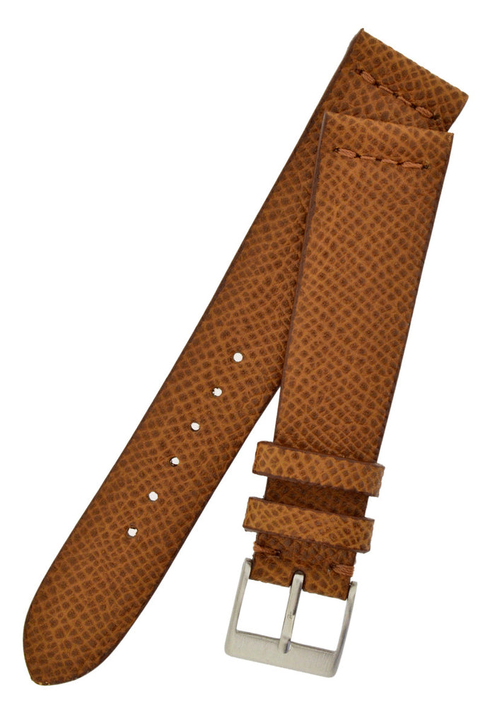 JPM Italian Classic Print Leather Watch Strap in GOLD BROWN