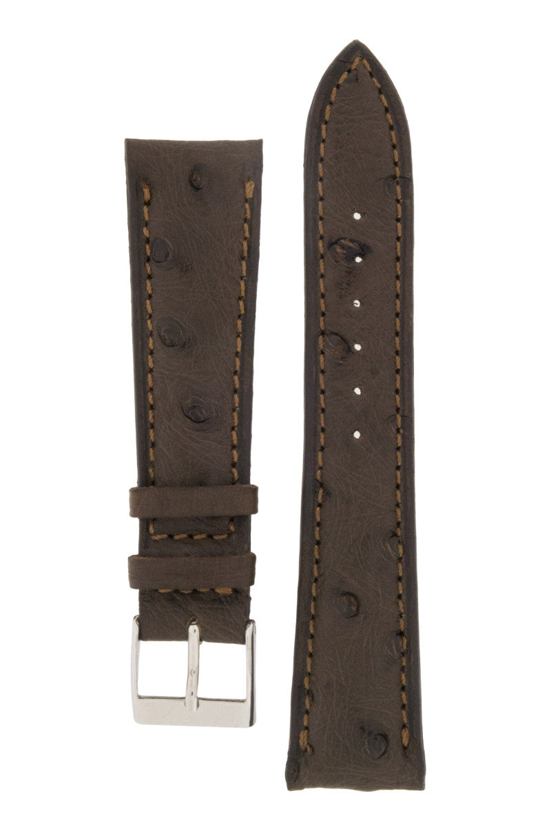 JPM Ostrich Leather Watch Strap in BROWN