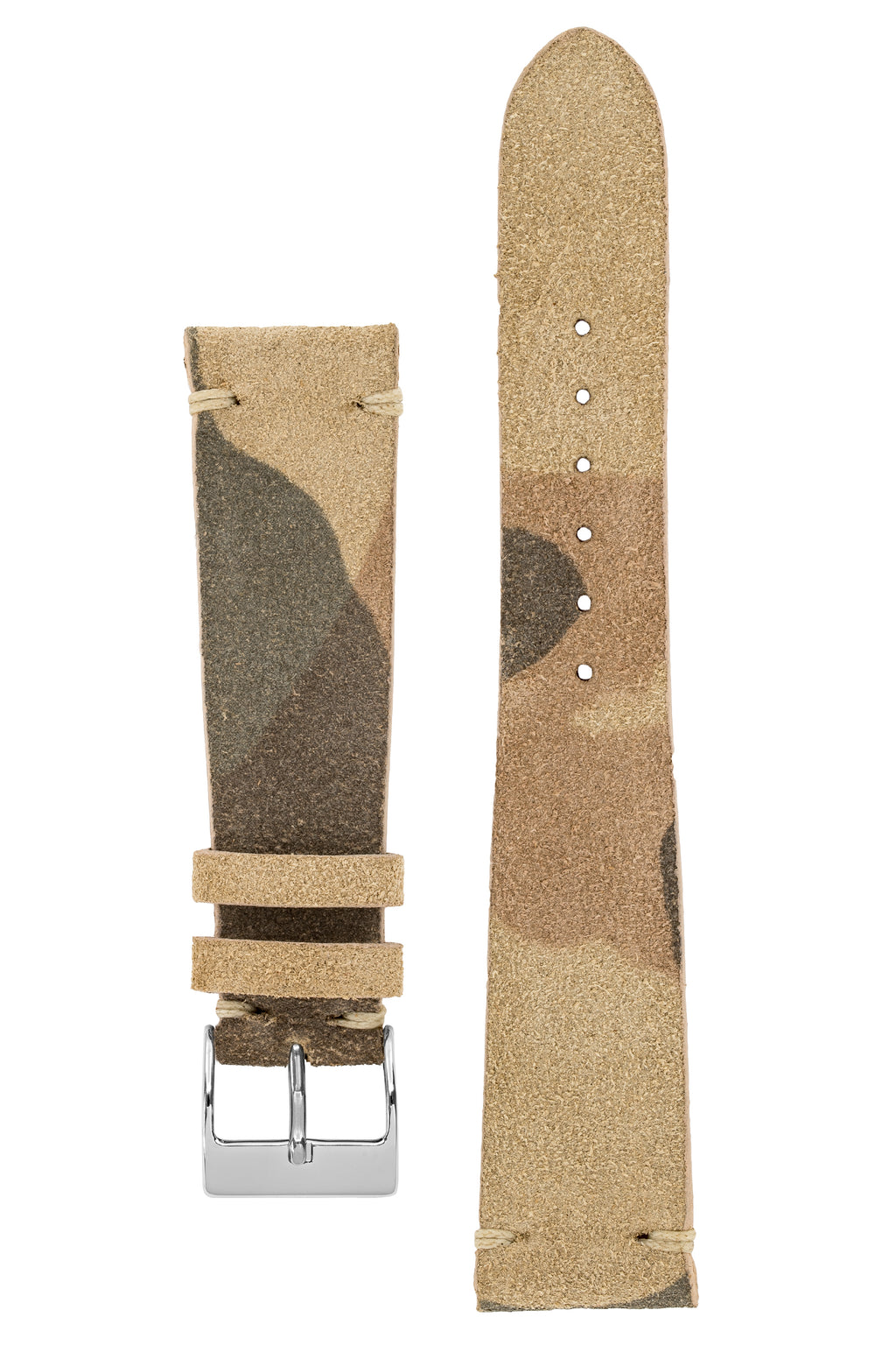 JPM Italian Vintage Suede Leather Watch Strap in BEIGE CAMOUFLAGE