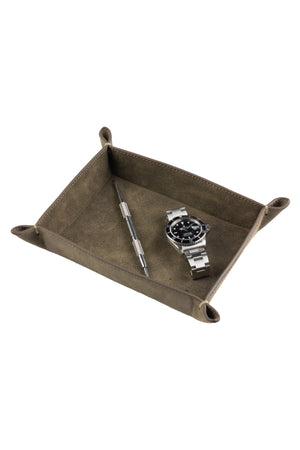 JPM Small Suede Leather Valet Tray in GREY
