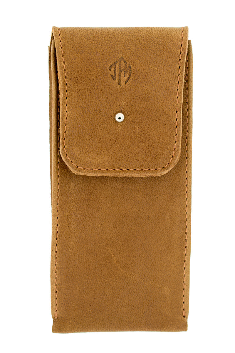 JPM Single Watch Leather Travel Pouch in COGNAC