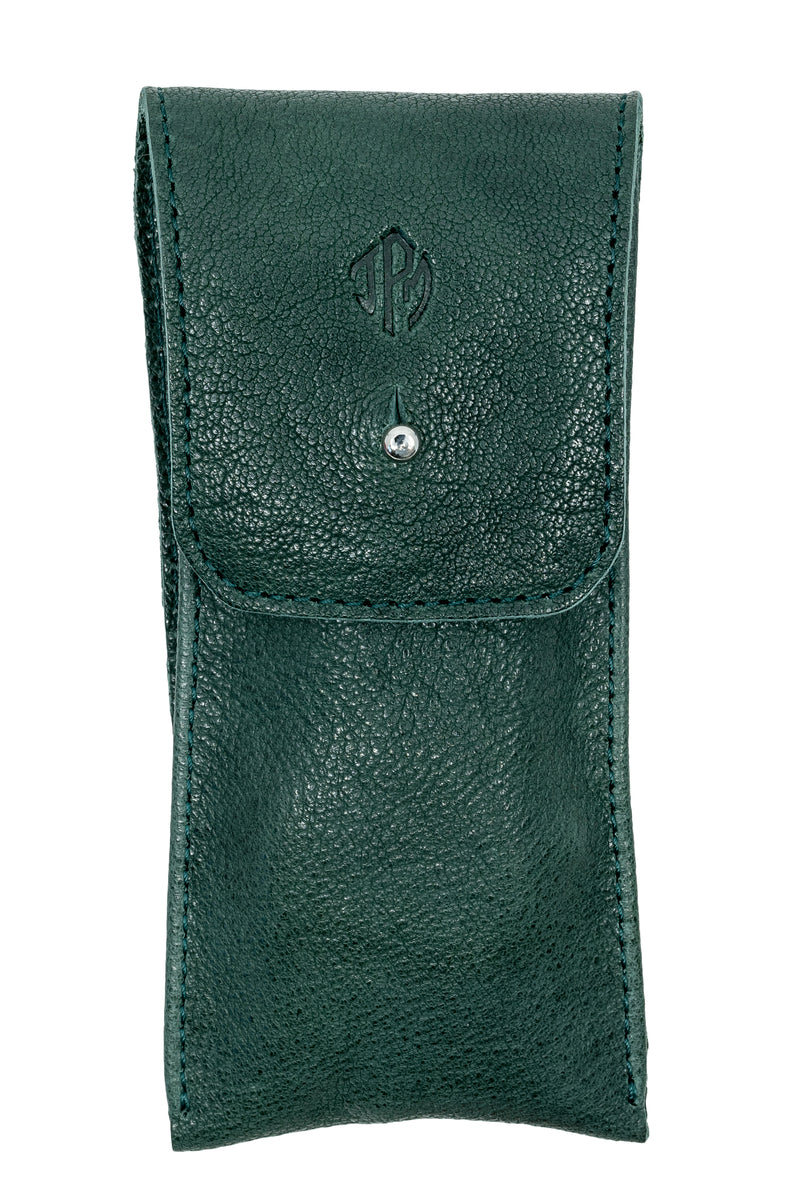 JPM Single Watch Leather Travel Pouch in GREEN