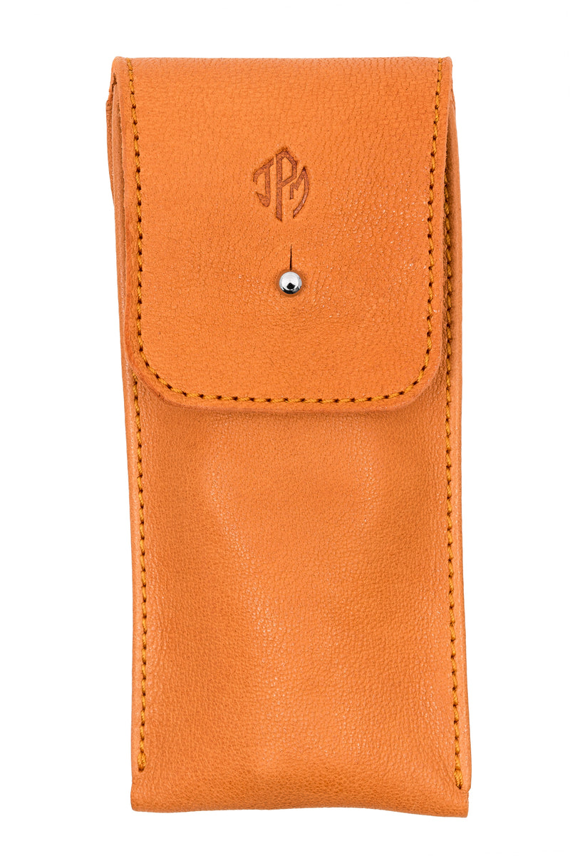 JPM Single Watch Leather Travel Pouch in ORANGE