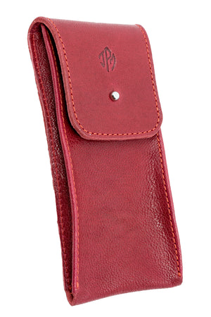JPM Single Watch Leather Travel Pouch in RED