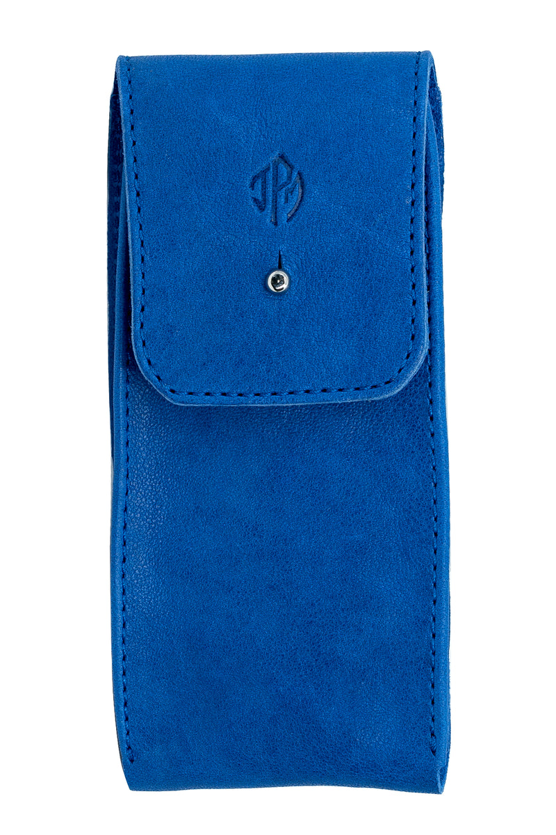 JPM Single Watch Leather Travel Pouch in BLUE