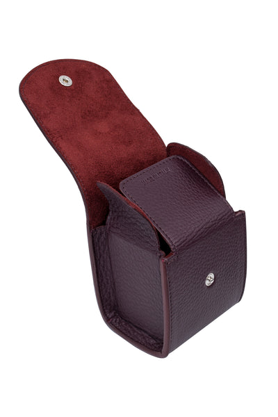 JPM Cubo Single Watch Travel Case in BURGUNDY