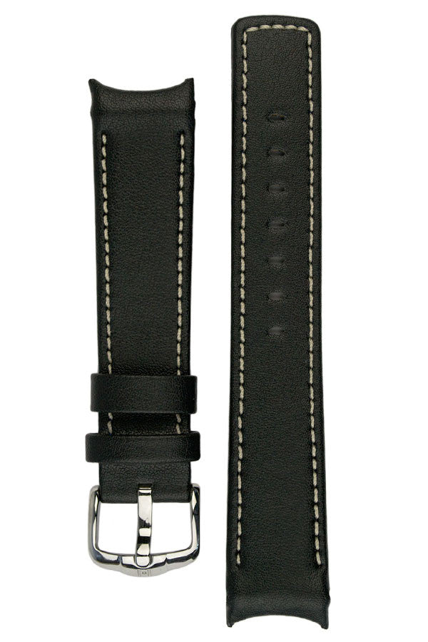 Hirsch Leonardo Heavy Calf curved ended watch strap in black/ivory