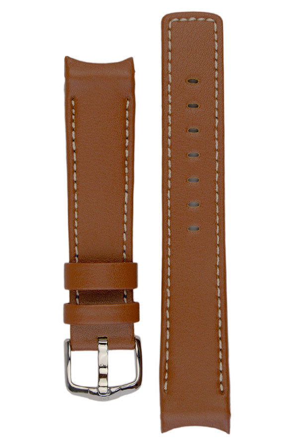 Hirsch Leonardo Heavy Calf curved ended watch strap in gold brown