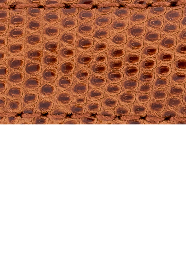 Load image into Gallery viewer, Hirsch London Genuine Lizard-Skin Watch Strap in Gold Brown (Close-Up Texture Detail)