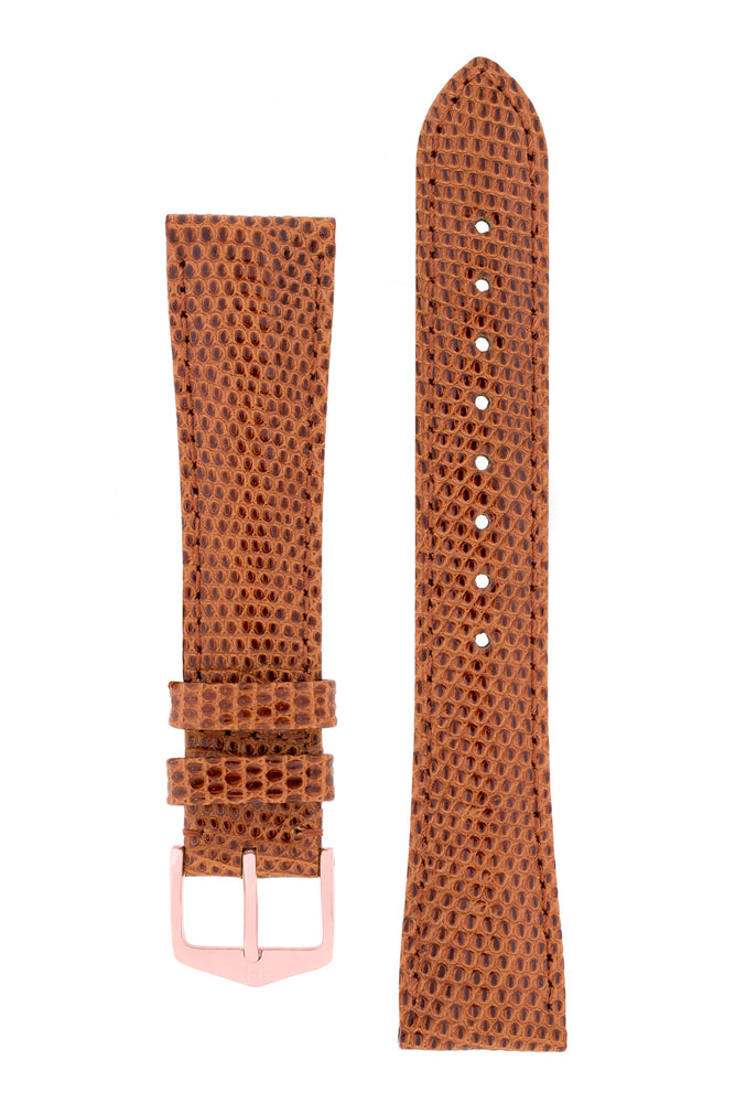 Hirsch London Genuine Lizard-Skin Watch Strap in Gold Brown (with Polished Rose Gold Steel H-Tradition Buckle)