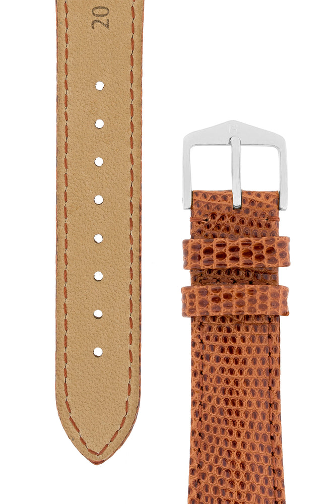Load image into Gallery viewer, Hirsch London Genuine Lizard-Skin Watch Strap in Gold Brown (Underside & Tapers)