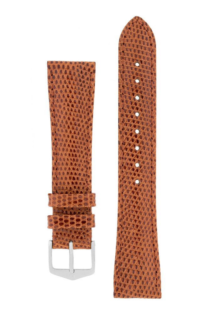 Hirsch London Genuine Lizard-Skin Watch Strap in Gold Brown (with Polished Silver Steel H-Tradition Buckle)