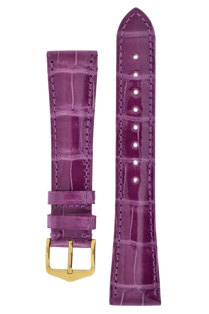 Hirsch LONDON Shiny Alligator Leather Watch Strap in VIOLET