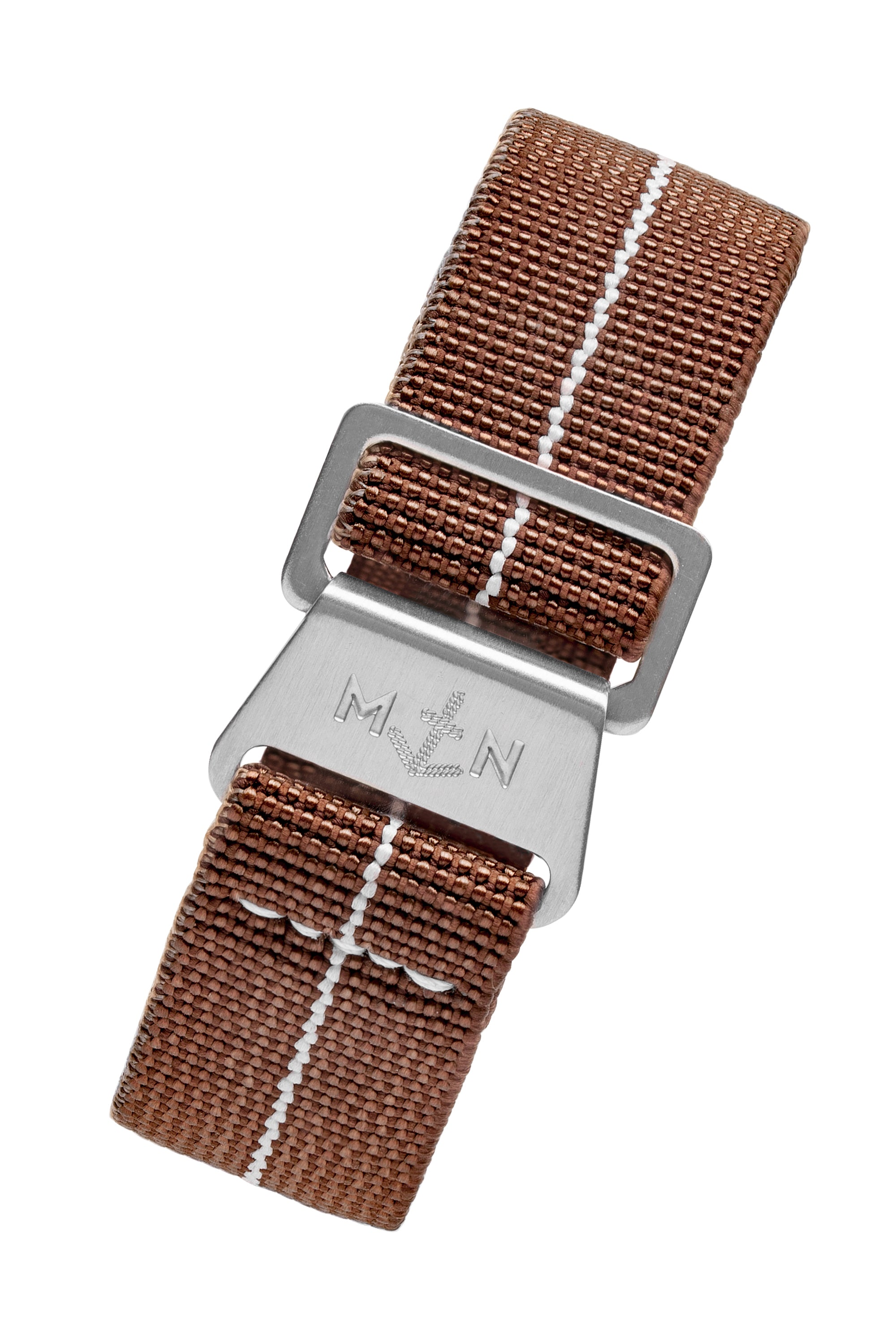 Erika's Originals CHESTNUT MN™ Limited Edition Strap with WHITE Centerline - BRUSHED Hardware