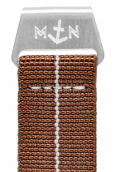 Erika's Originals Chestnut MN™ Watch Strap with White Centerline and Brushed Steel Hardware (Clasp Detail)