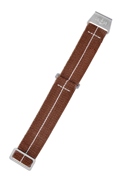 Erika's Originals Chestnut MN™ Watch Strap with White Centerline and Brushed Steel Hardware (Length)