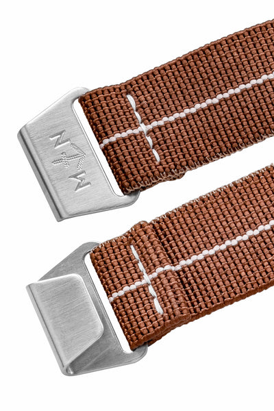 Erika's Originals Chestnut MN™ Watch Strap with White Centerline and Brushed Steel Hardware (Front & Back)
