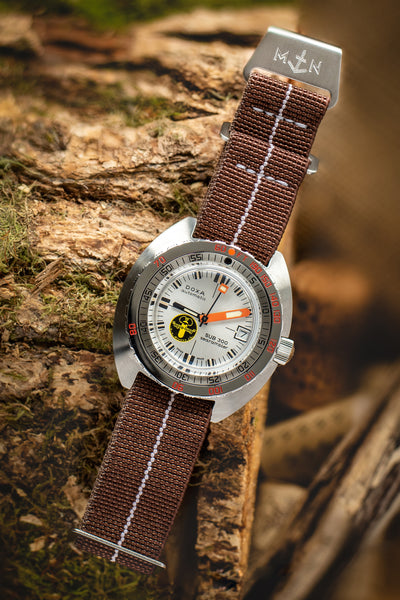 Erika's Originals Chestnut MN™ Watch Strap with White Centerline and Brushed Steel Hardware (Promo Photo)