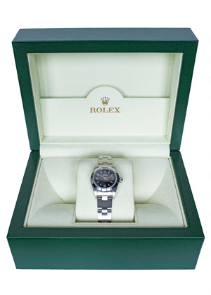 ROLEX Oyster Perpetual 76080 Ladies Automatic Steel Watch 24mm with Black Dial