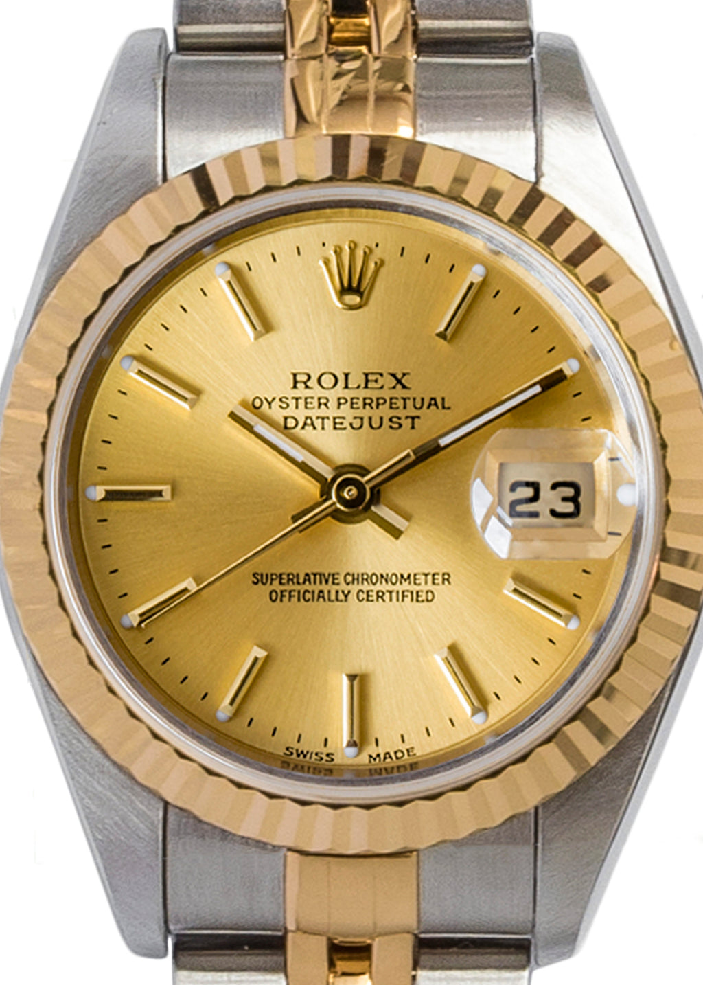 ROLEX Datejust 79173 Ladies Automatic Bi-Metal Watch 25mm with Gold Dial
