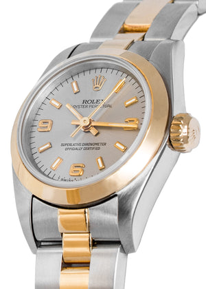 ROLEX Oyster Perpetual 67183 Ladies Automatic Bi-Metal Watch 25mm with Slate Dial
