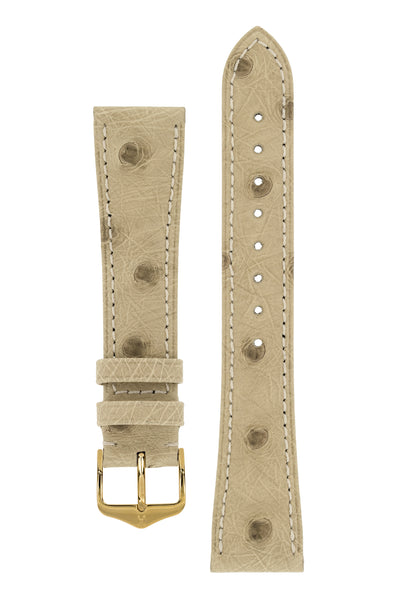 Hirsch Massai Genuine Ostrich Leather Watch Strap in Beige with Cream Contrast Stitch (with Polished Gold Steel H-Tradition Buckle)