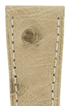 Hirsch Massai Genuine Ostrich Leather Watch Strap in Beige with Cream Contrast Stitch (Close-Up Texture Detail)