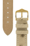 Hirsch Massai Genuine Ostrich Leather Watch Strap in Beige with Cream Contrast Stitch (Underside & Tapers)