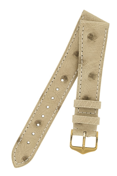 Hirsch Massai Genuine Ostrich Leather Watch Strap in Beige with Cream Contrast Stitch