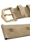 Hirsch MASSAI OSTRICH Leather Watch Strap in BEIGE With WHITE Stitching