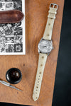 Hirsch Massai Genuine Ostrich Leather Watch Strap in Beige with Cream Contrast Stitch (Promo Photo)