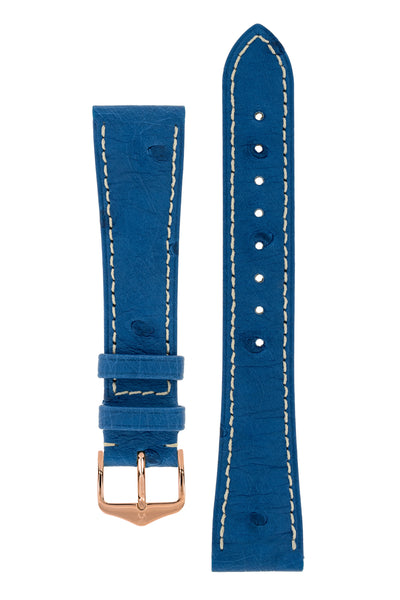 Hirsch Massai Genuine Ostrich Leather Watch Strap in Royal Blue with Cream Contrast Stitch (with Polished Rose Gold Steel H-Tradition Buckle)