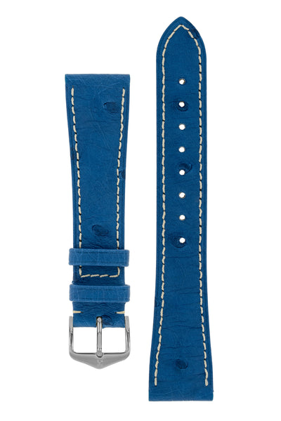 Hirsch Massai Genuine Ostrich Leather Watch Strap in Royal Blue with Cream Contrast Stitch (with Polished Silver Steel H-Tradition Buckle)