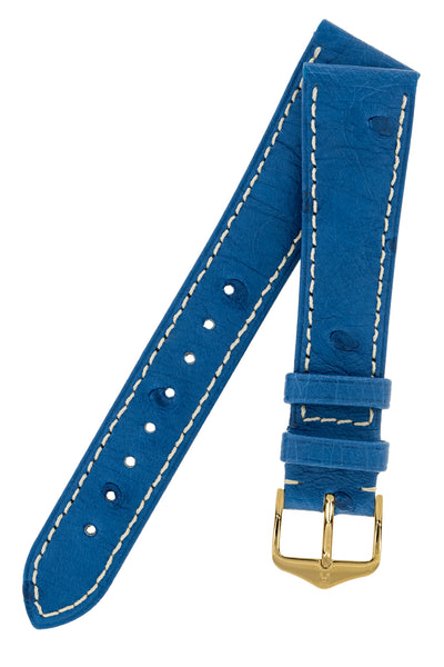 Hirsch Massai Genuine Ostrich Leather Watch Strap in Royal Blue with Cream Contrast Stitch