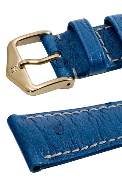Hirsch Massai Genuine Ostrich Leather Watch Strap in Royal Blue with Cream Contrast Stitch (Keepers)