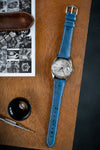 Hirsch Massai Genuine Ostrich Leather Watch Strap in Royal Blue with Cream Contrast Stitch (Promo Photo)