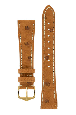 Hirsch Massai Genuine Ostrich Leather Watch Strap in Gold Brown with Cream Contrast Stitch (with Polished Gold Steel H-Tradition Buckle)