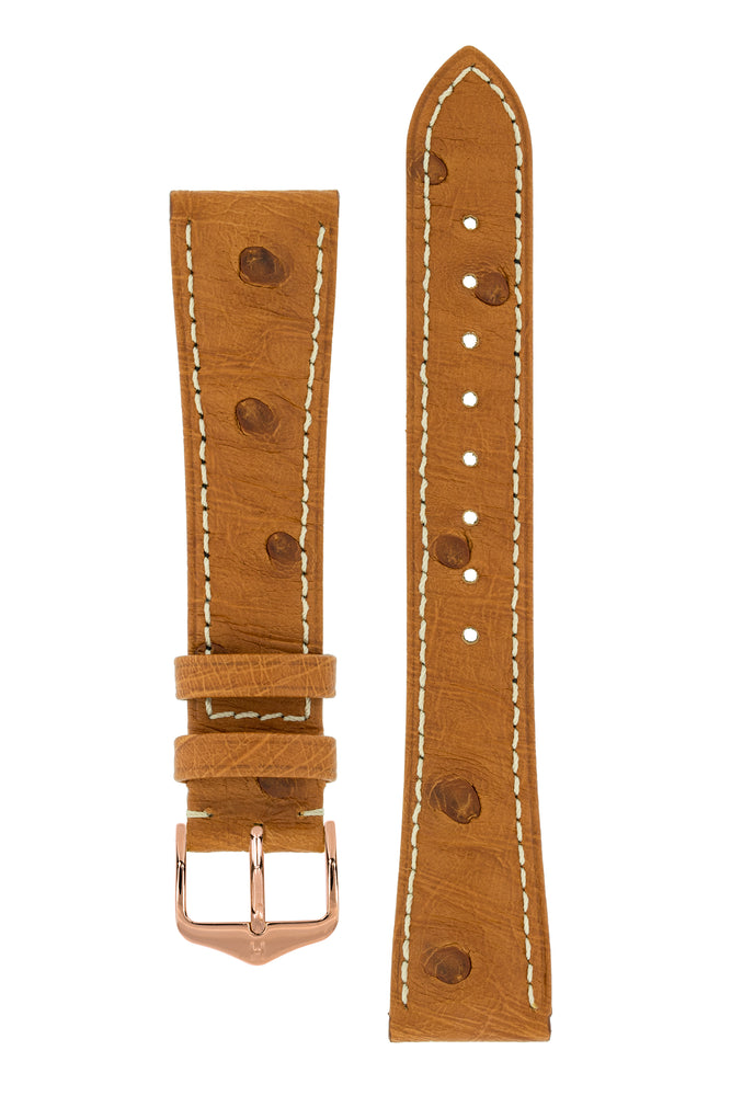 Hirsch Massai Genuine Ostrich Leather Watch Strap in Gold Brown with Cream Contrast Stitch (with Polished Rose Gold Steel H-Tradition Buckle)