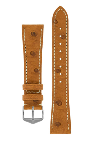 Hirsch Massai Genuine Ostrich Leather Watch Strap in Gold Brown with Cream Contrast Stitch (with Polished Silver Steel H-Tradition Buckle)