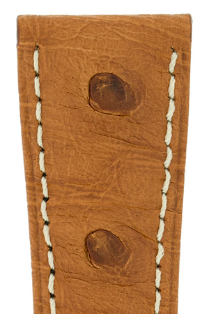 Hirsch Massai Genuine Ostrich Leather Watch Strap in Gold Brown with Cream Contrast Stitch (Close-Up Texture Detail)